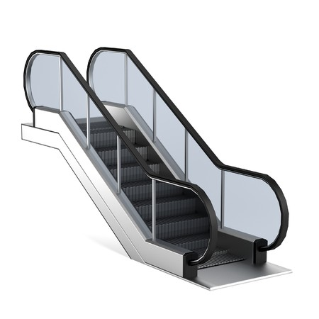 realistic 3d render of escalator