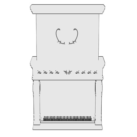 fire place: 2d illustration of fire place