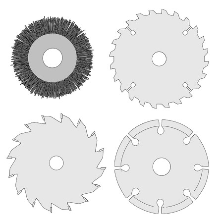 power tools: cartoon image of discs for power tools