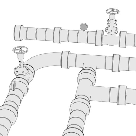 2d: 2d illustration of industrial pipes
