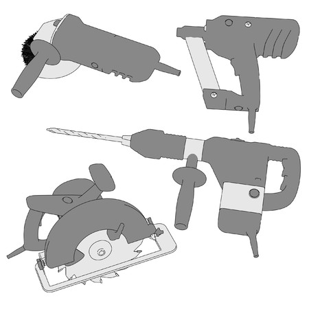 power tools: 2d cartoon image of power tools