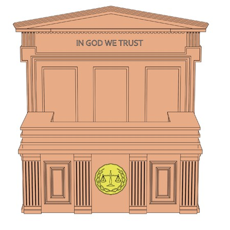 toons: 2d cartoon image of courtroom table