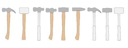 herramientas de trabajo: caricatura de martillos (herramientas de trabajo) Foto de archivo