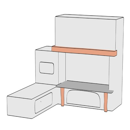 2d: 2d illustration of old oven Stock Photo