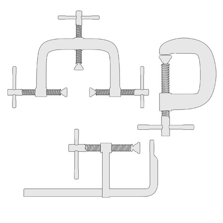 clamps: cartoon image of industrial clamps Stock Photo