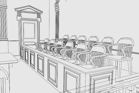 punishing: cartoon image of court room Stock Photo