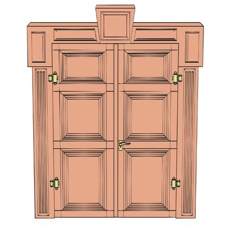 large doors: 2d illustration of old door Stock Photo