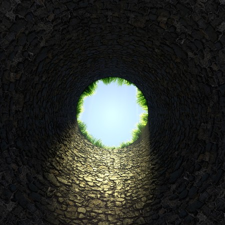 dungeon: 3d render of large pit Stock Photo