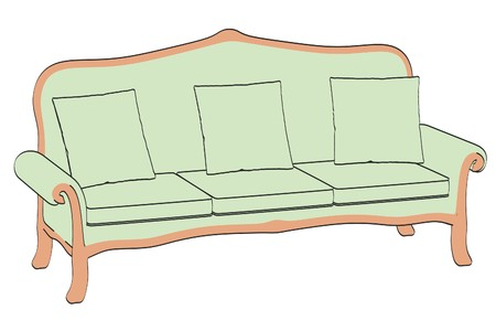 2d: 2d illustration of old sofa