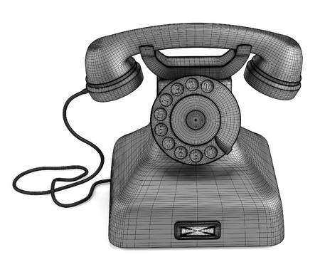 retro telephone: 3d render of Retro Telephone Stock Photo
