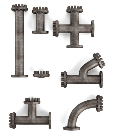 pipes: 3d render of industrial pipes