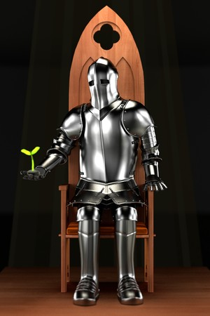 dungeon: 3d render of knight in dungeon Stock Photo