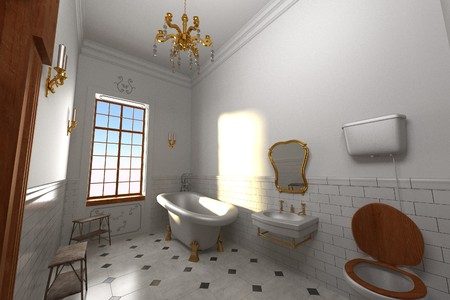 baroque room: 3d render of luxury manor interior - bathroom