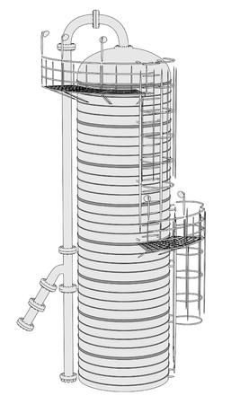 destilacion: 2d ilustración de la Unidad de Destilación