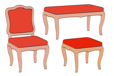 2d: 2d illustration of baroque chairs