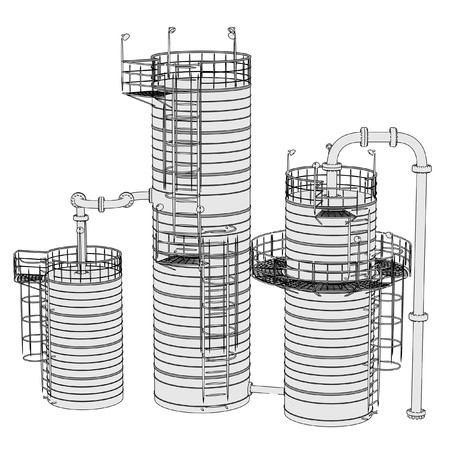 catalytic: 2d illustration of Fluid Catalytic Cracker Stock Photo