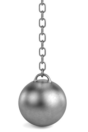 ball and chain: 3d render of wrecking ball Stock Photo