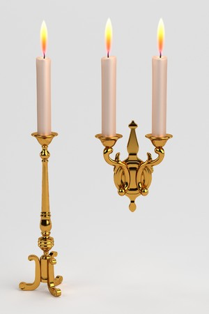 3d render of baroque candlestick Stock Photo