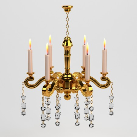 candlestick: 3d render of baroque candlestick Stock Photo