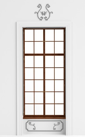 old window: 3d render of old window