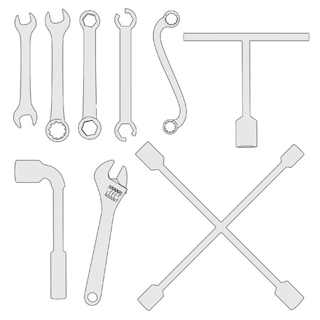 2d: 2d cartoon image of wrenches Stock Photo