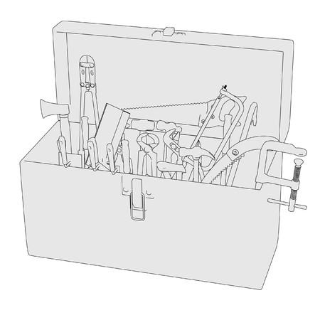 2d: 2d cartoon image of toolbox
