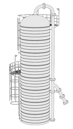distillation: 2d illustration of Distillation Unit