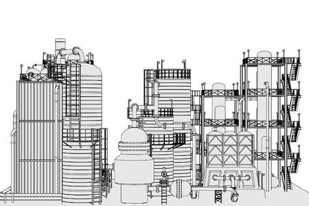 refinery: cartoon image of oil refinery