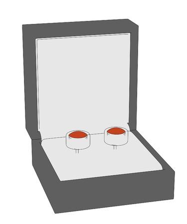 jewel box: cartoon image of earrings in boxes Stock Photo