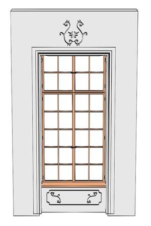 2d: 2d illustration of baroque window Stock Photo