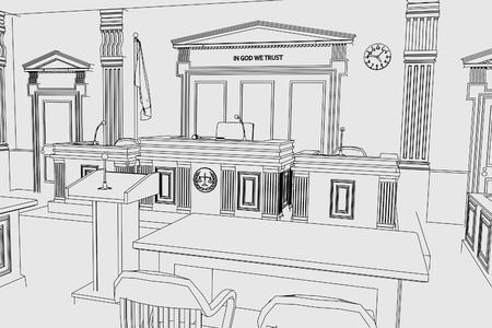 cartoon image of court room Imagens