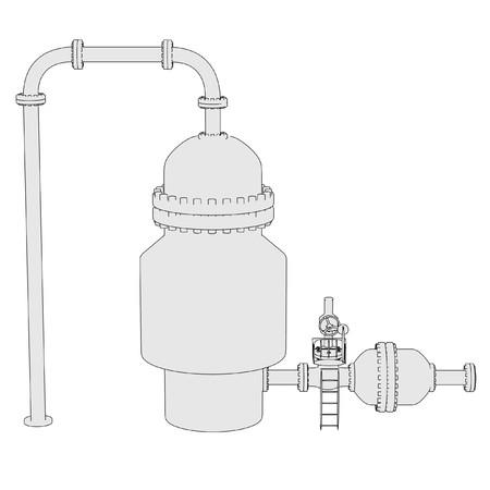 destilacion: imagen de la historieta de la unidad de destilación al vacío Foto de archivo