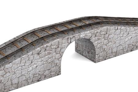 railway track: 3d render of railway track on bridge Stock Photo
