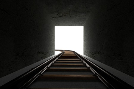 railway track: 3d render of railway track and tunnel Stock Photo
