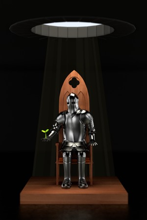 knight: 3d render of knight in dungeon Stock Photo