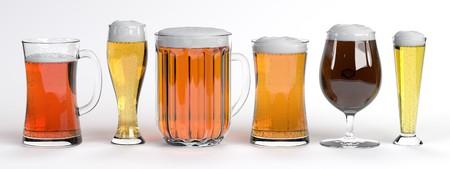 beers: 3d render of beers in glass set Stock Photo