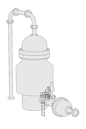 distillation: cartoon image of vacuum distillation unit Stock Photo