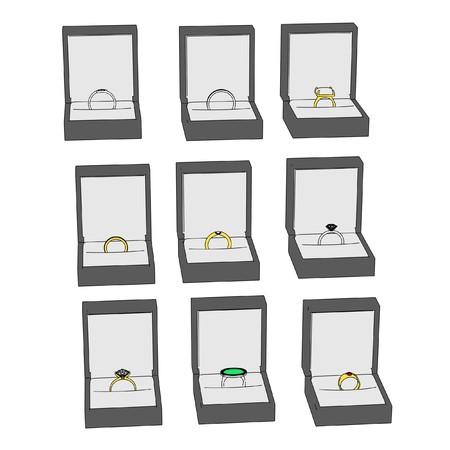 jewel box: 2d cartoon image of rings