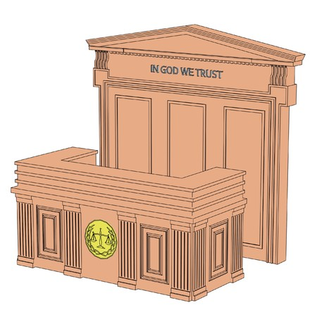 courtroom: 2d cartoon image of courtroom table
