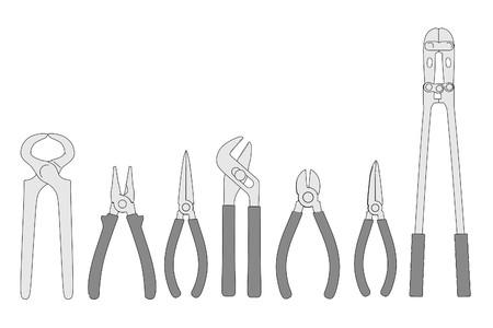 2d: 2d cartoon image of pliers (tools) Stock Photo