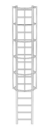 chimney: 2d illustration of Chimney Ladder Stock Photo