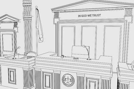punish: cartoon image of court room Stock Photo
