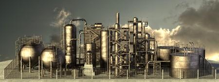 石油精製所の 3 d レンダリング