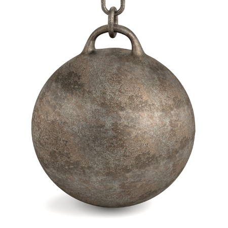 chain ball: 3d render of wrecking ball Stock Photo