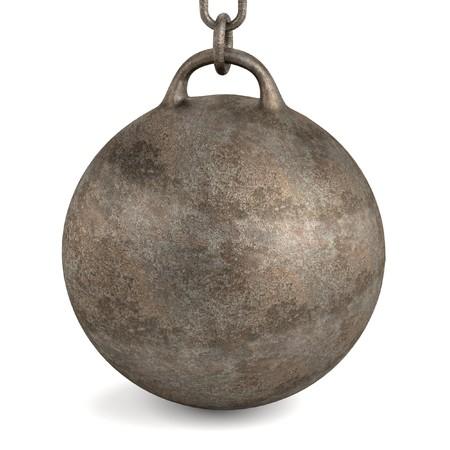 metal ball: 3d render of wrecking ball Stock Photo