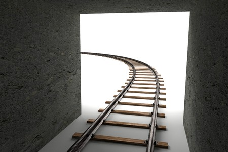 tunnel: 3d render of railway track and tunnel Stock Photo