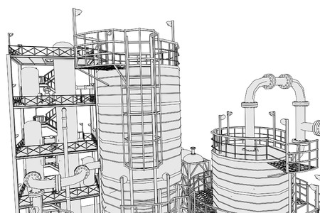 oil refinery: cartoon image of oil refinery