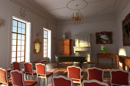 manor: 3d render of luxury manor interior - hall