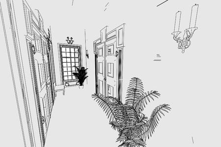 manor: cartoon image of manor interior