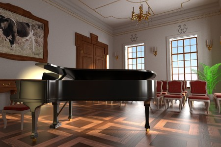 baroque room: 3d render of luxury manor interior - hall